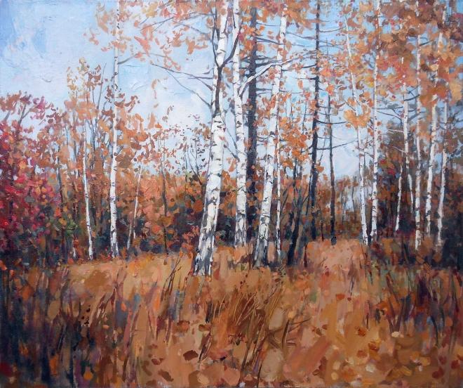 Картина маслом Осень, берёзки
