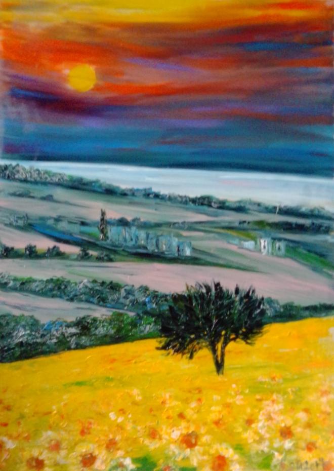 Холмы Тосканы на закате