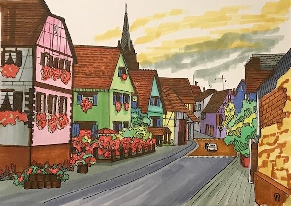 Картина Цветущая улочка. Скетч.