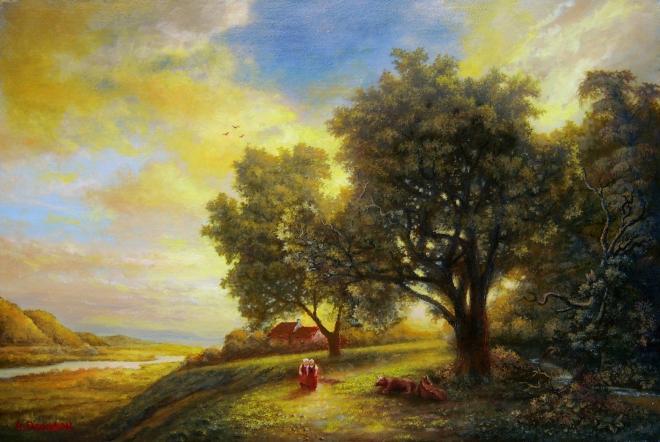Картина маслом на холсте Застыл июнь в закате лета
