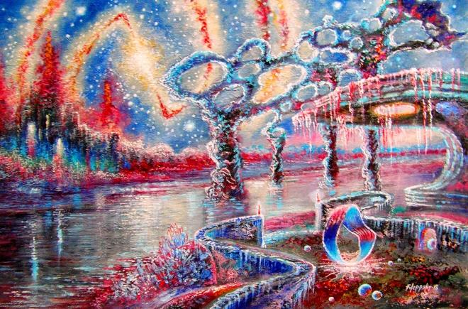 Картина маслом Сияющие небеса.Кольцо Мёбиуса.