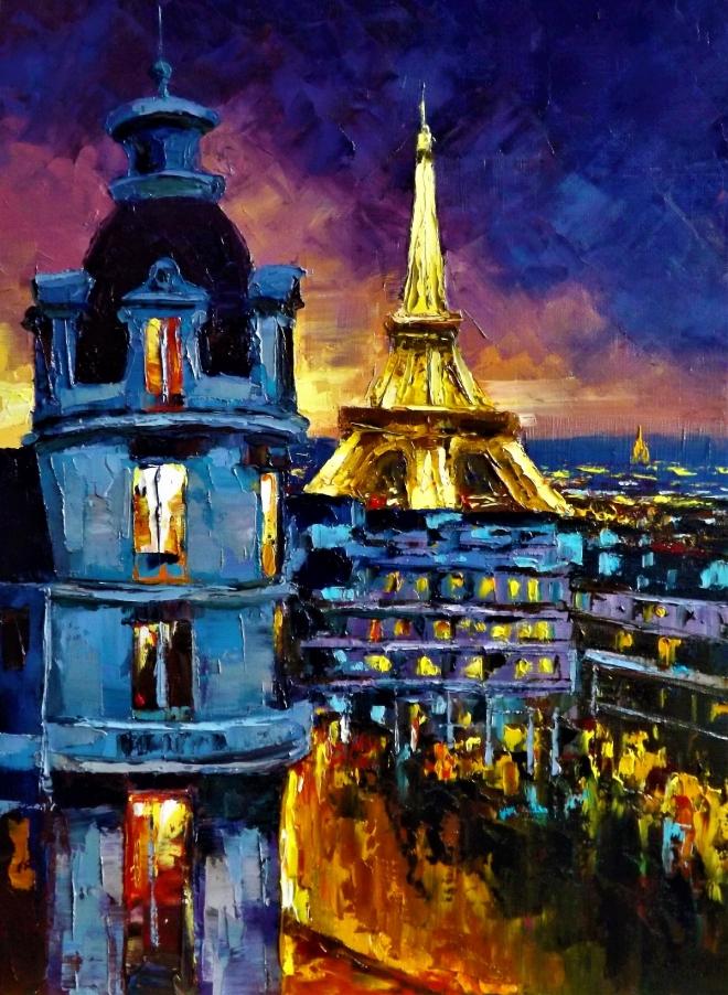 Картина маслом Ночь над Парижем