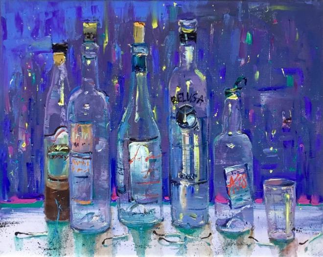Картина маслом на холсте Вечерние бутылки