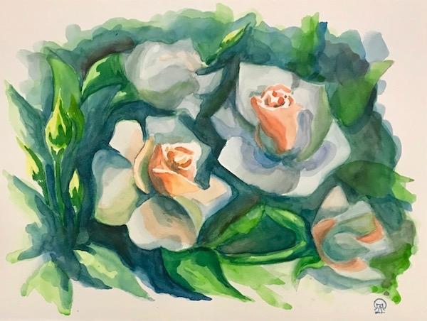 Картина акварелью Белые розы