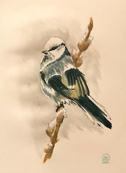 Картина акварелью Акварельная птичка