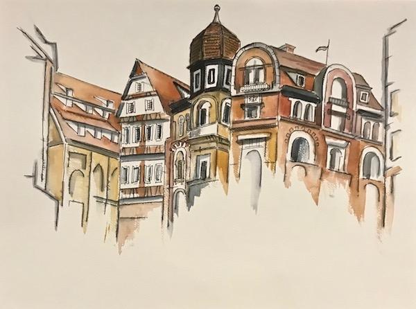 Картина акварелью Центр города. Скетч.