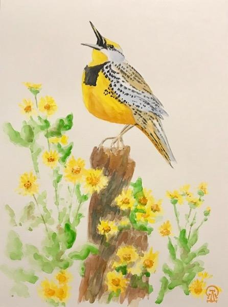 Картина акварелью Жёлтая птичка