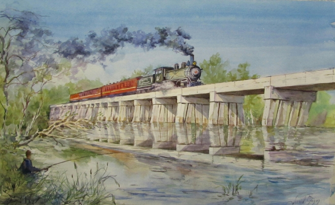 Картина Поезд рыбака.
