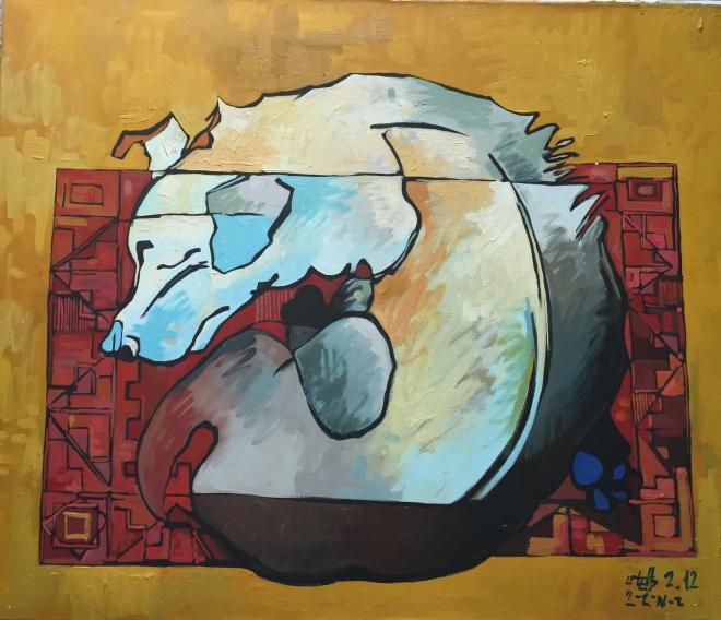 Картина маслом на холсте Спящая собака