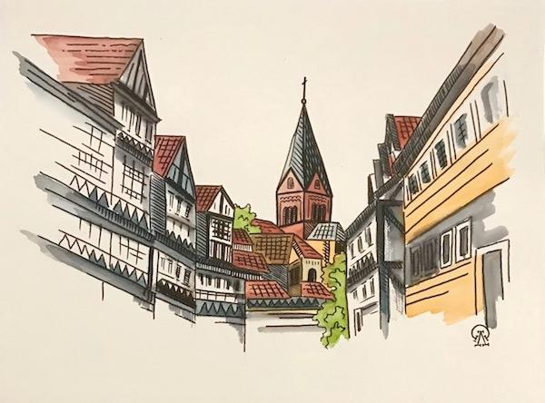 Картина акварелью Немецкий городок