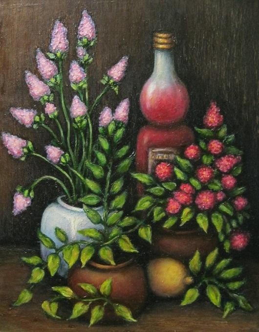 Картина маслом Натюрморт с бутылкой и цветами