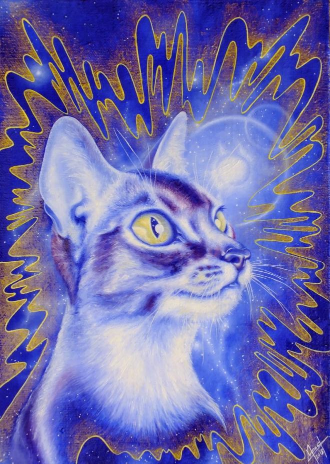 Картина маслом на холсте Синий кот
