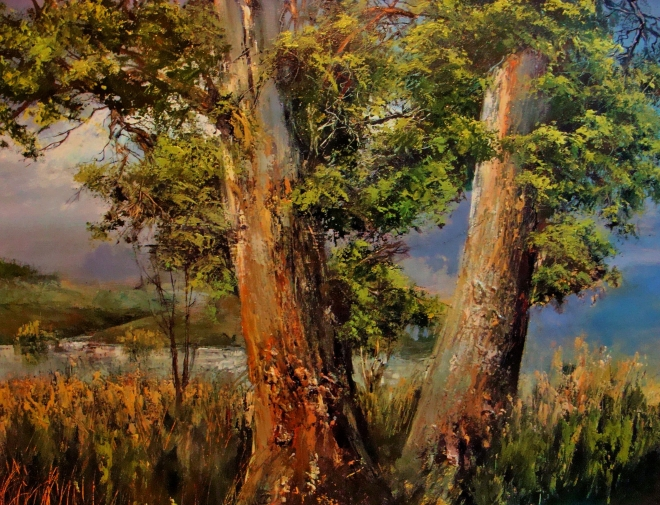 Картина маслом на холсте Два дерева