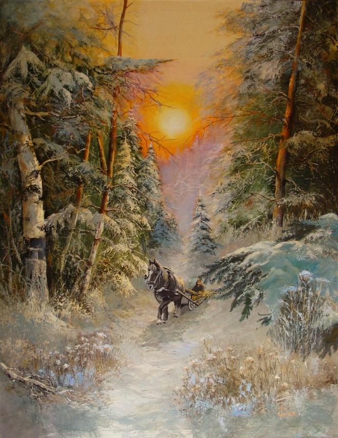 Картина маслом на холсте Зимним лесом