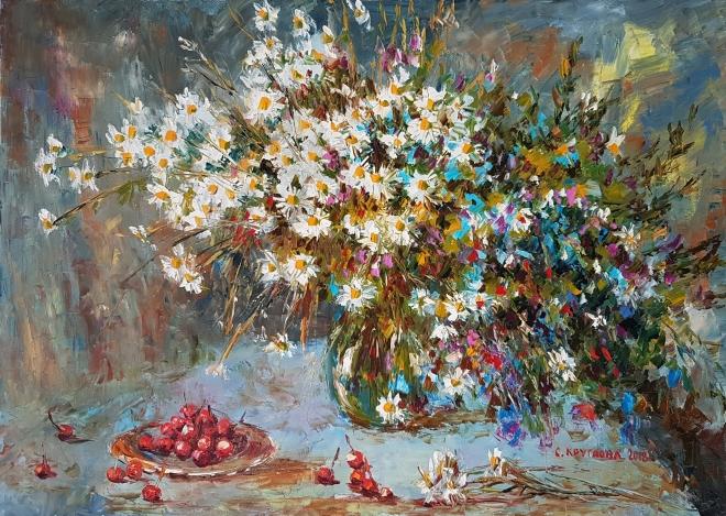 Картина маслом на холсте Дикие вишни