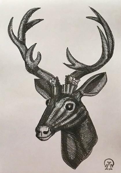 Голова оленя. Скетч.