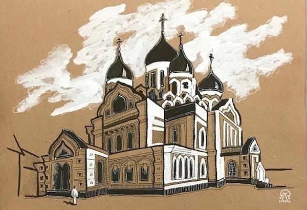 Картина Православный храм. Скетч.