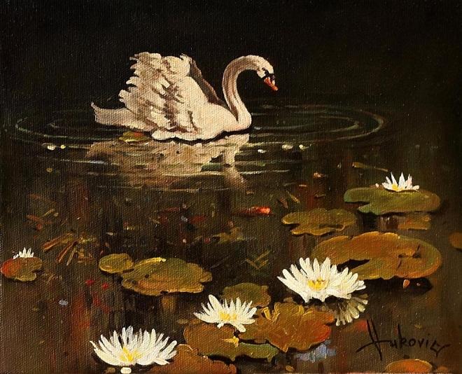 Картина маслом одинокий лебедь
