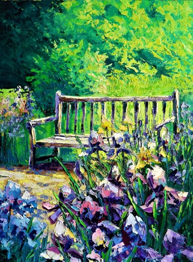 Картина маслом на холсте Лавочка в саду