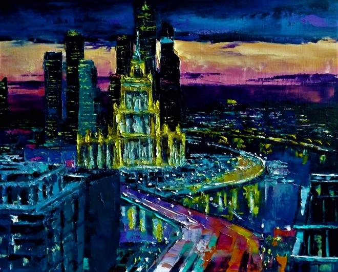 Картина маслом на холсте Ночь над Москвой