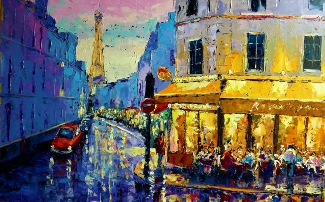 Картина маслом Огни Парижа