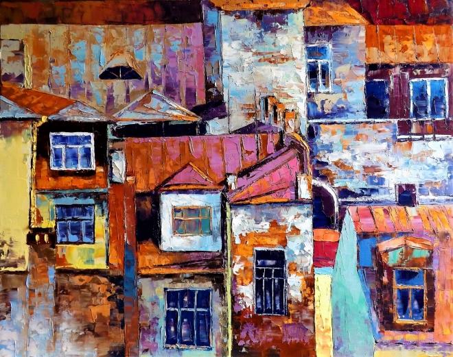 Картина маслом на холсте Крыши старого города