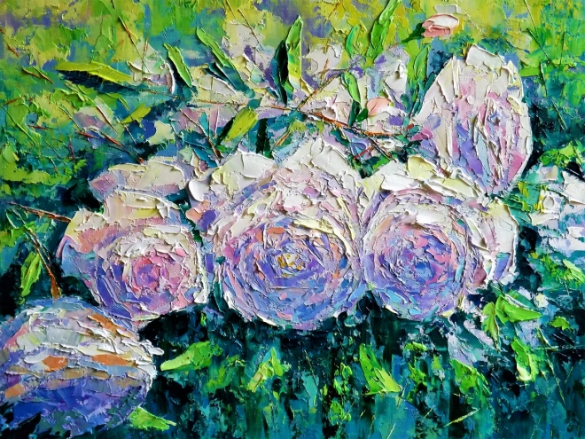 Картина маслом на холсте Ветка Розы