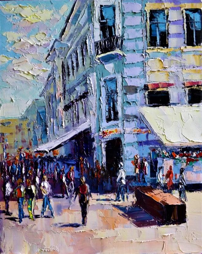 Картина маслом на холсте Будни Московских улиц