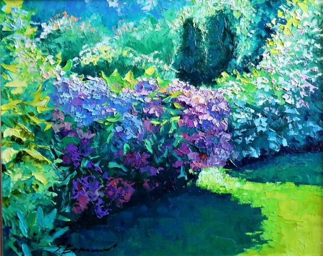 Картина маслом на холсте Утро в саду