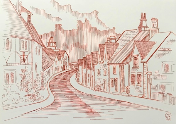 Картина Английская деревушка. Скетч.