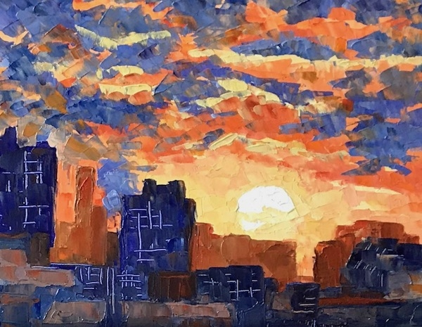 Картина маслом Закат над городом.