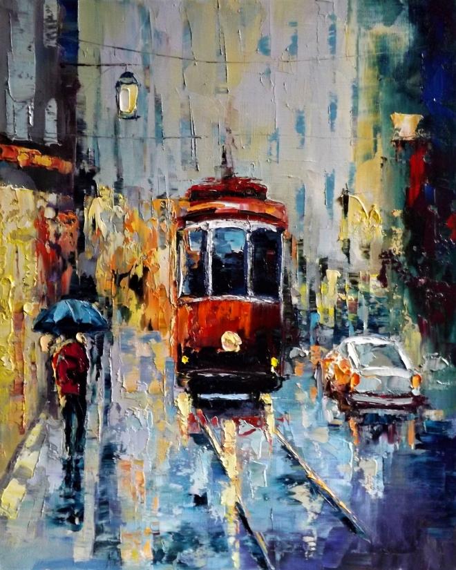 Картина маслом на холсте Осенний трамвайчик