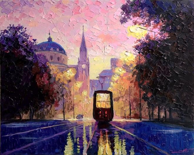Картина на холсте Вечерний трамвай