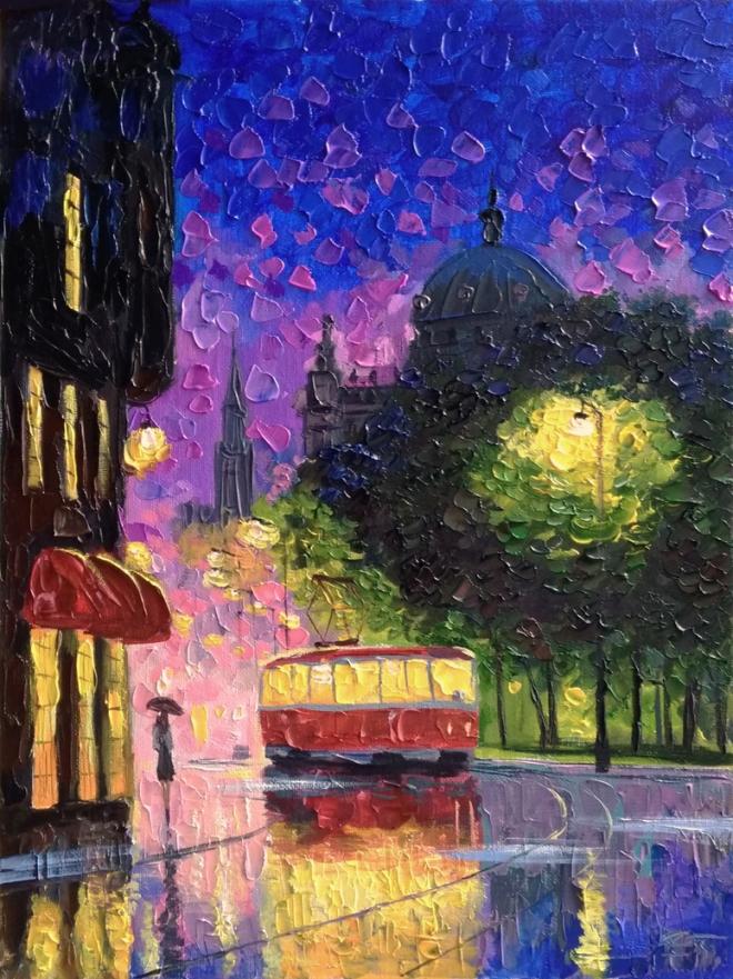 Ночной трамвай. Картина-ассоциация на одноимённую песню группы Квартал.