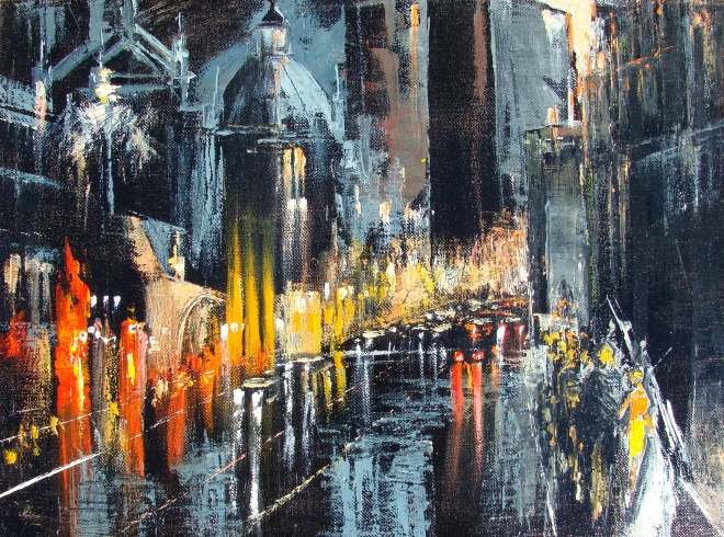 Картина маслом на холсте Проспект большого города