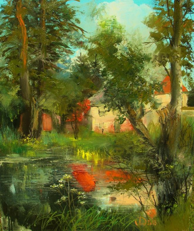 Картина маслом на холсте У пруда