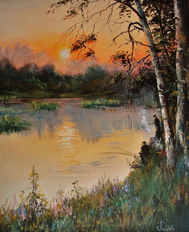 Картина маслом на холсте Утро на реке