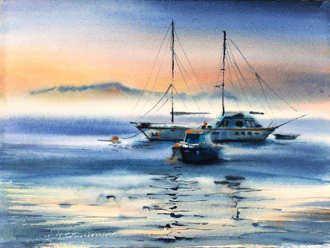 Картина акварелью Без рыбаков