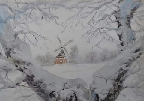 Картина акварелью Мельница в снегу.