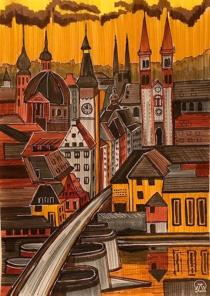 Картина акварелью Закатный город. Скетч.
