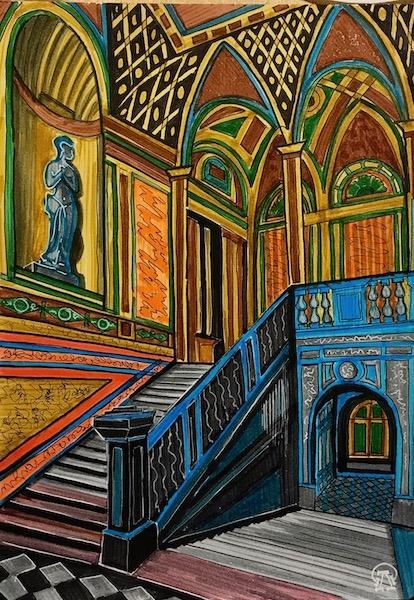 Картина акварелью Дворцовая лестница. Скетч.