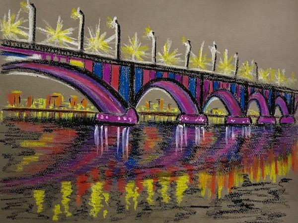 Картина Освещённый мост. Скетч.