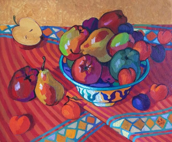 Картина маслом на холсте Яблоки на красном