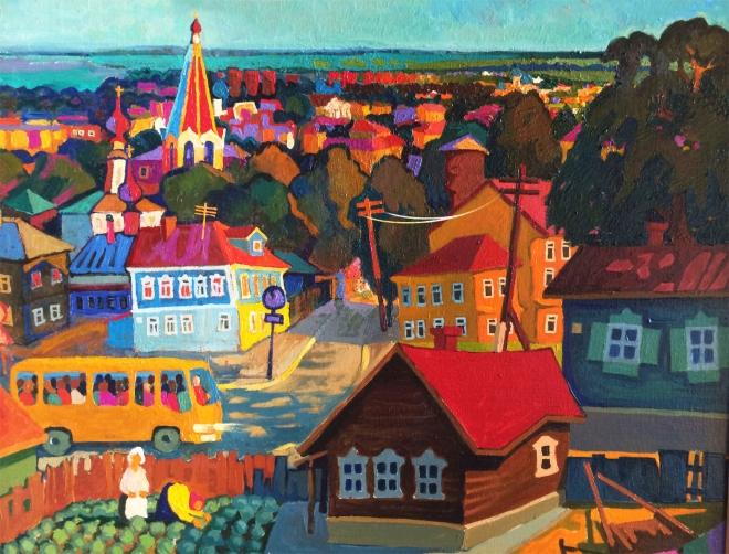 Картина маслом на холсте Вечер в посёлке