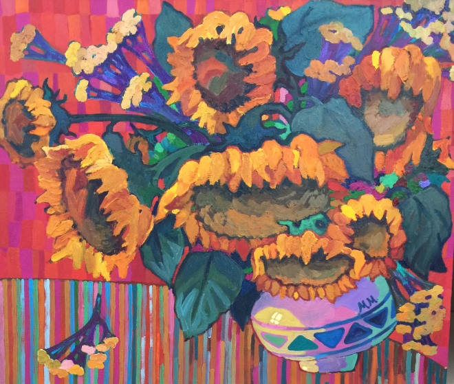 Картина маслом на холсте Подсолнухи