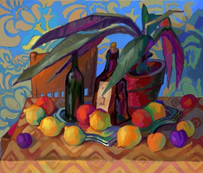 Картина маслом на холсте Лимоны на синем