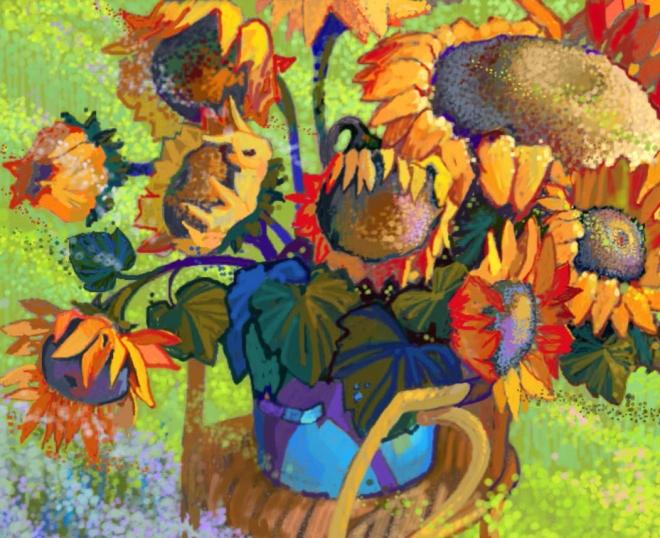 Картина маслом на холсте Дуновение ветра (подсолнухи)