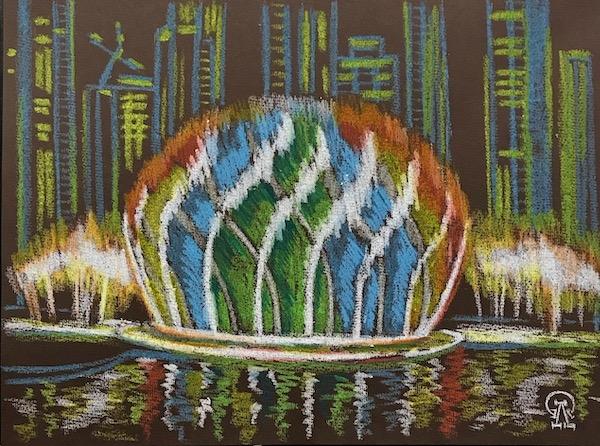 Картина Цветной фонтан. Скетч.