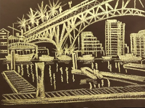 Картина Лодки под мостом. Скетч.