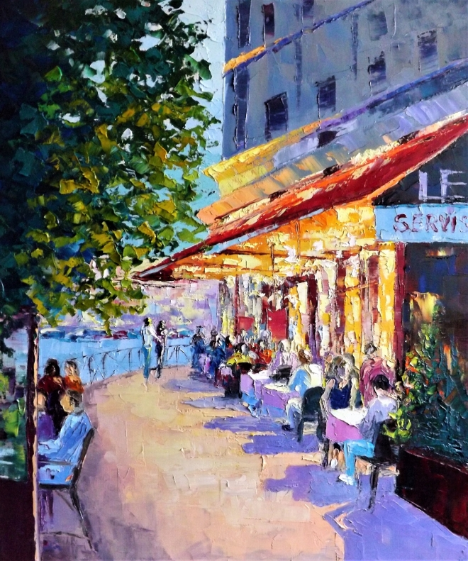 Картина маслом на холсте Тёплый вечер на бульваре